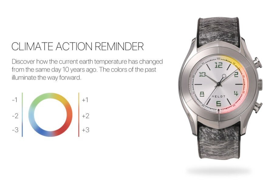 gray smartwatch with lights showing global warming-caused temperature changes
