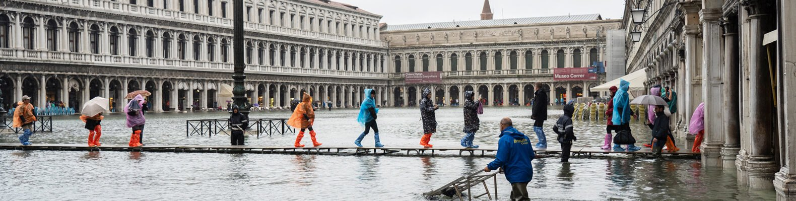 St. Marks Square in Venice during floods in November 2019