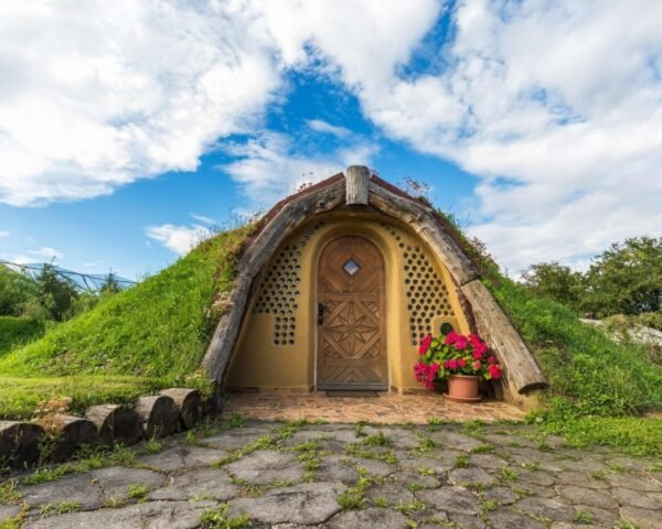 hobbit home embedded into the earth
