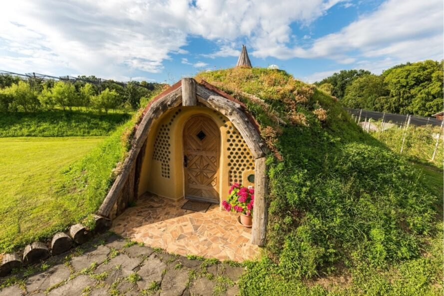dome-shaped home with green roof