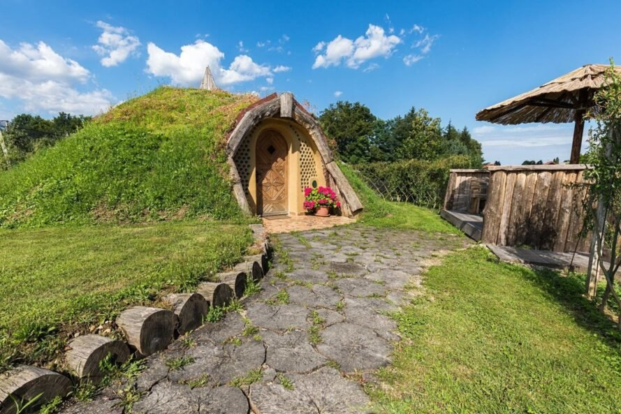 hobbit home with green roof