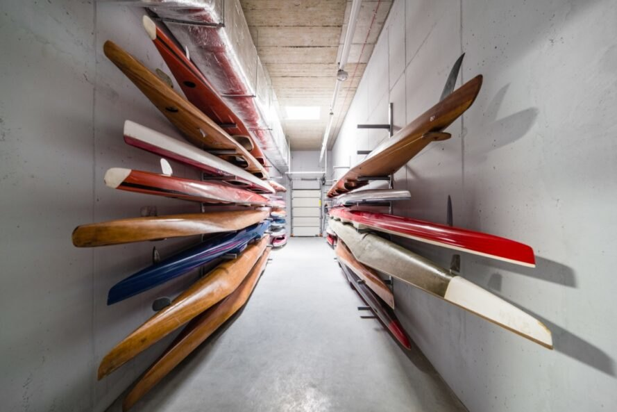 walls of stacked canoes
