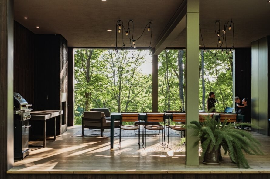 large dining room with floor-to-ceiling windows