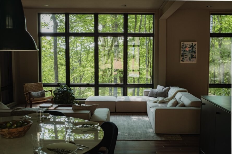 interior living space with large sofas