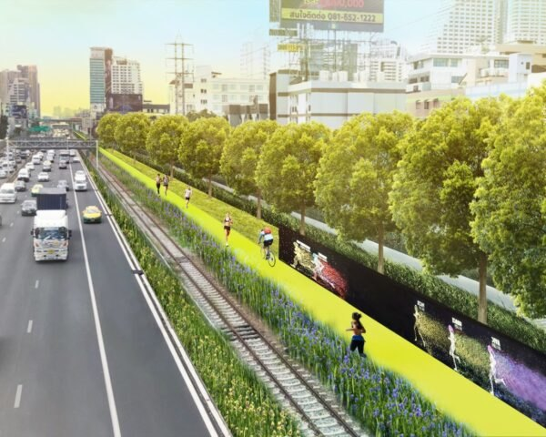 rendering of people running and riding bikes on green space separated from major highway
