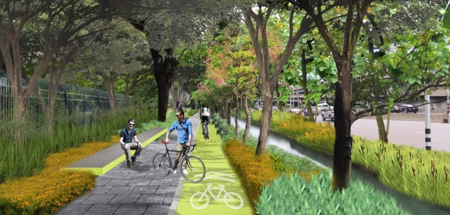 rendering of bike path surrounded by trees
