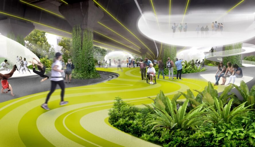 rendering of bright green walking path
