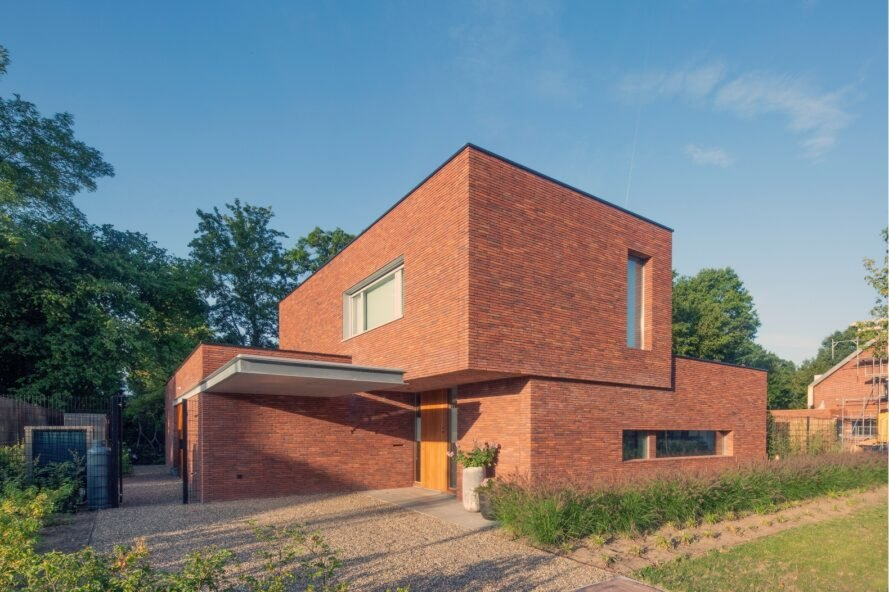 brick home with cube volumes