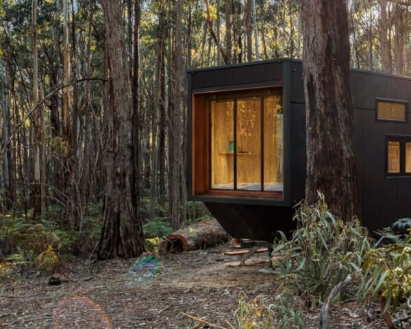 tiny cabin with large window