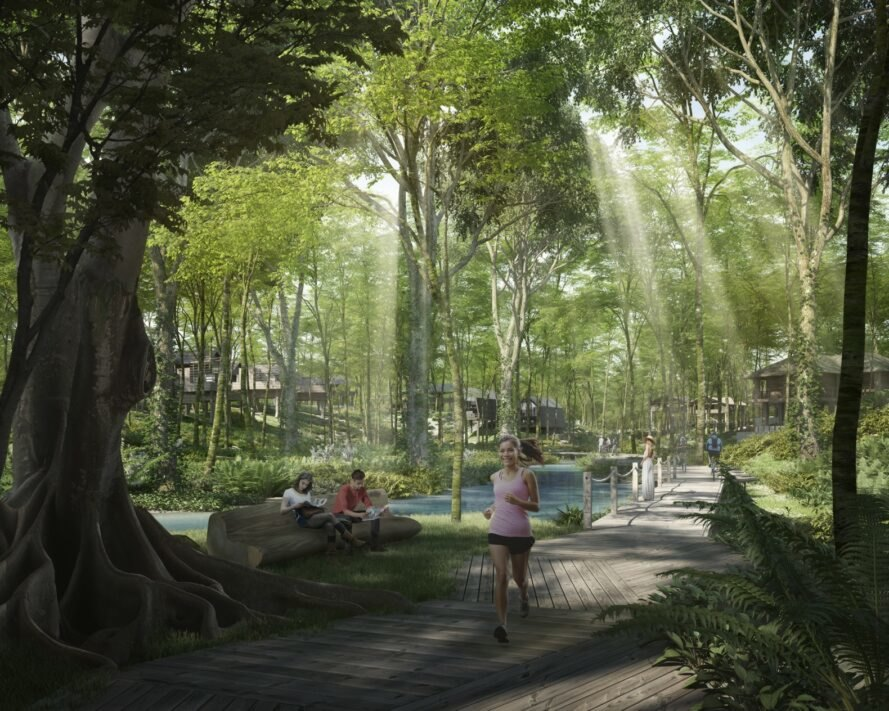 rendering of people running through forested area