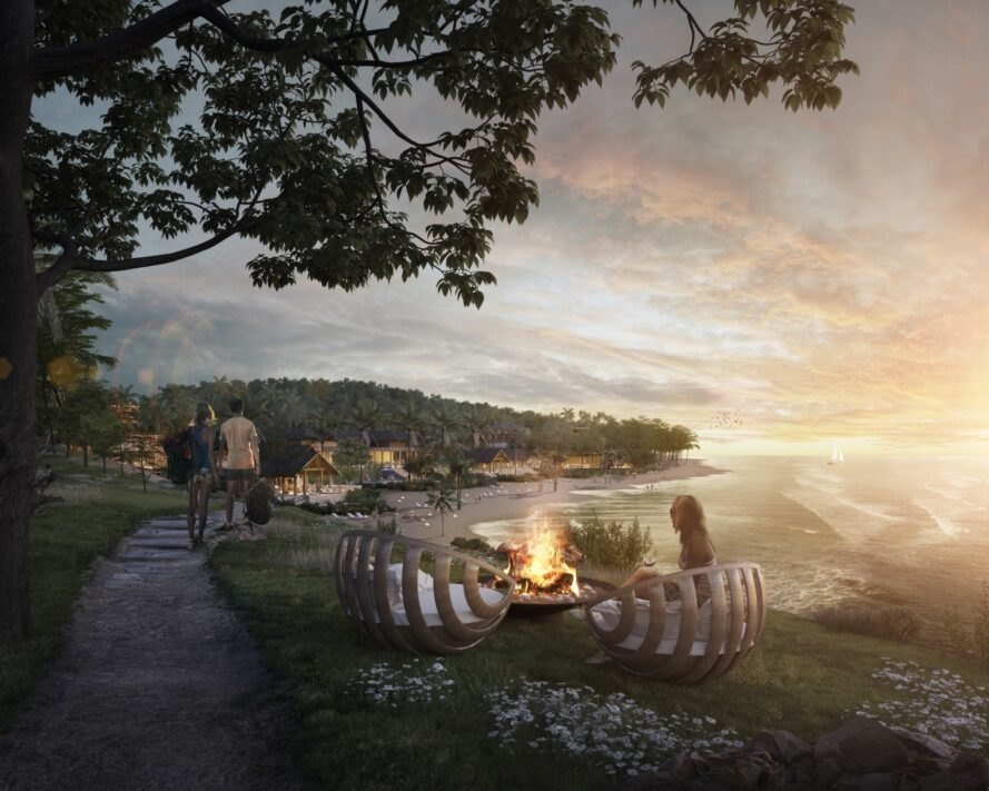 rendering of people enjoying a small campfire near the beach at sunset