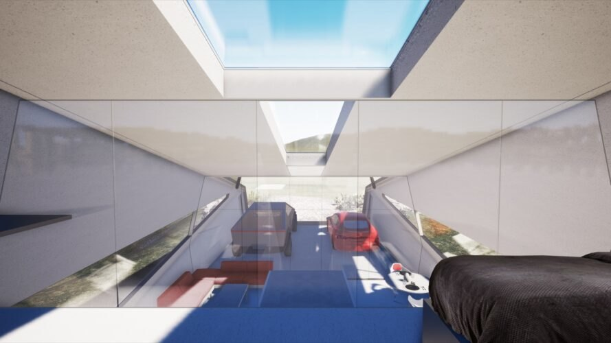 rendering of lofted bedroom above living room next to two parked electric cars