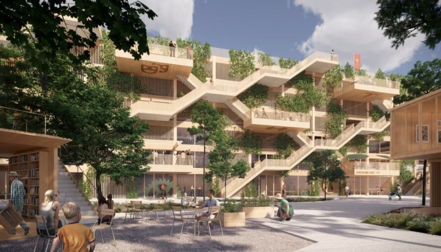 rendering of timber parking garage covered in plants