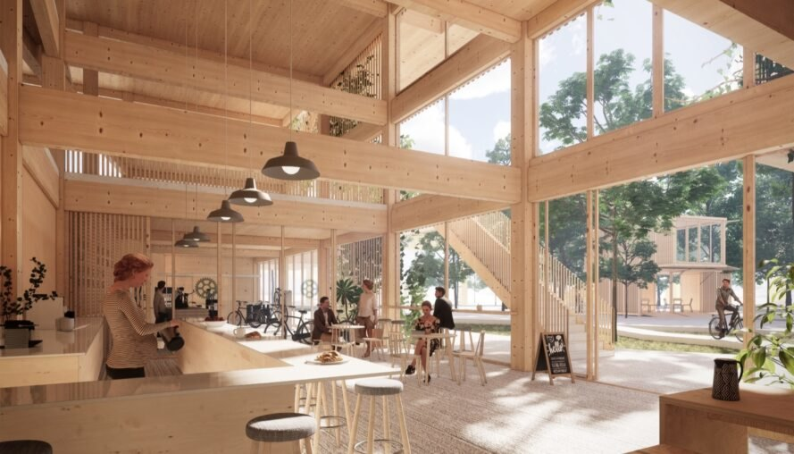 rendering of light wood-lined cafe space