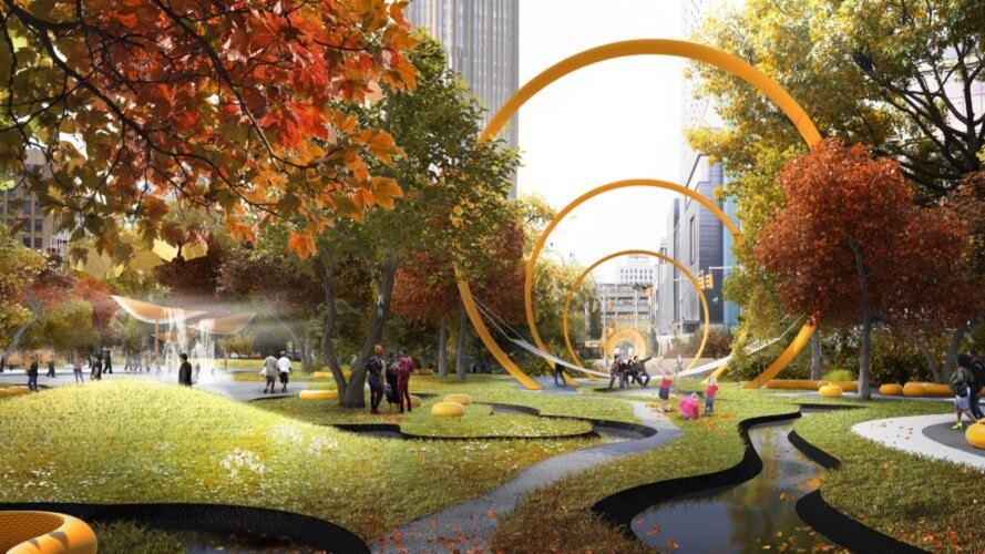 a rendered illustration of a park with three yellow rings forming a kind of tunnel