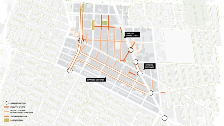 a map showing improved crossings, demapped streets, shared streets or increased pedestrian space, sidewalk expansions and raised crossings
