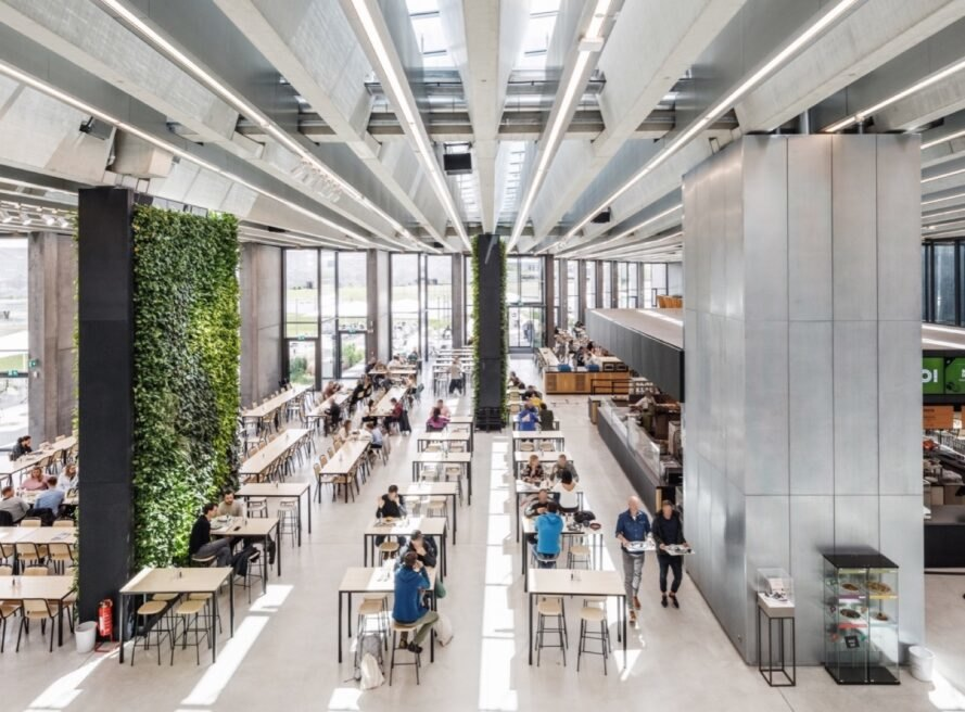 cafeteria with a green wall