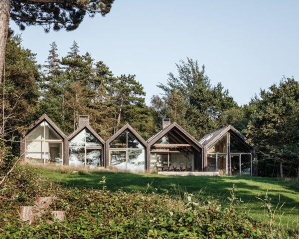 series of A-frame cabins with large windows
