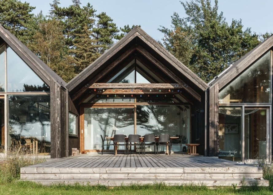 A-frame cabin with large window