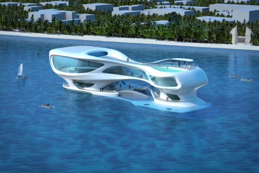 Flowing marine research center inspired by tsunami waves