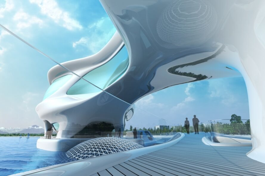 rendering of curvy white building with boardwalks