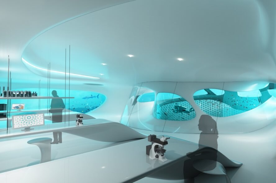 rendering of people in a lab room with underwater views