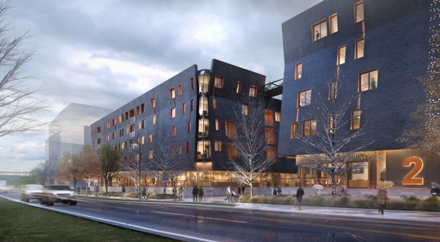 rendering of dark buildings with angled facades