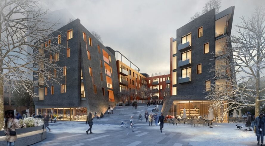 rendering of dark mixed-use buildings with large glass windows at dusk