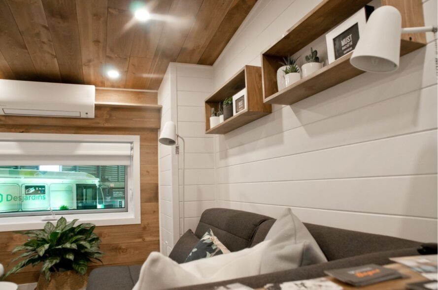 tiny home interior with shiplap walls