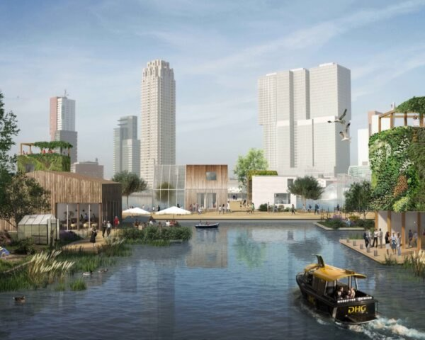 rendering of city buildings around water
