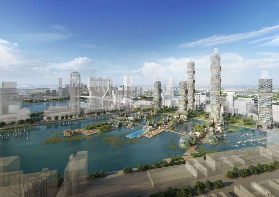 rendering of greenery and skyscrapers around water