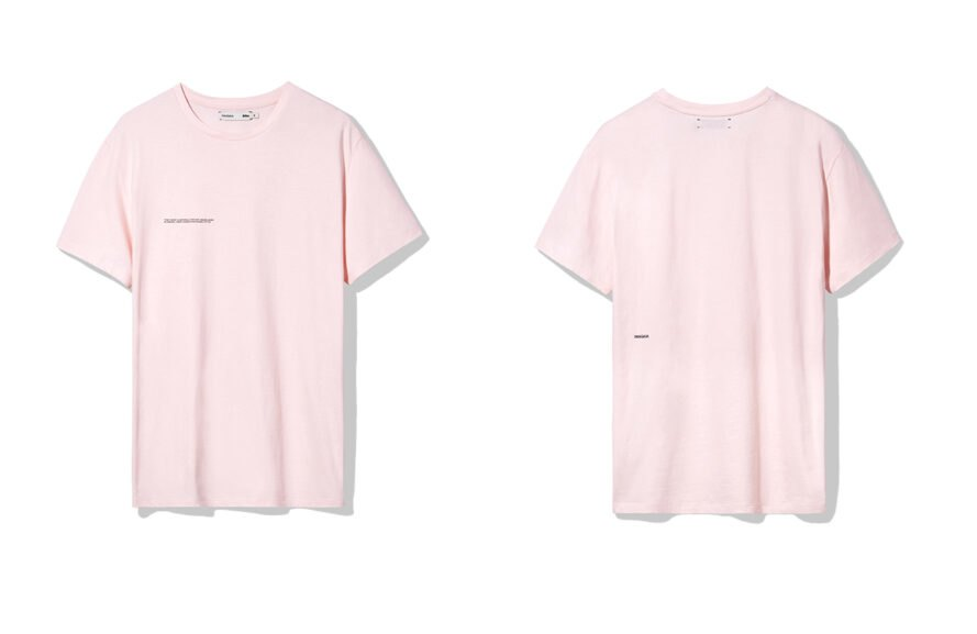 front and back of a pink T-shirt