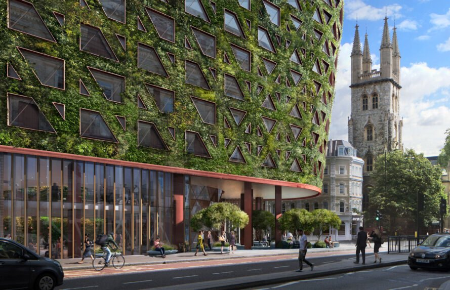 rendering of hotel entrance with a green wall facade