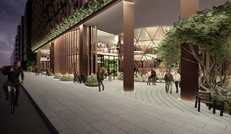 rendering of people walking in and out of hotel with green wall and glass doors