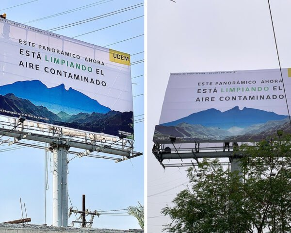 air-purifying billboard with image of mountains