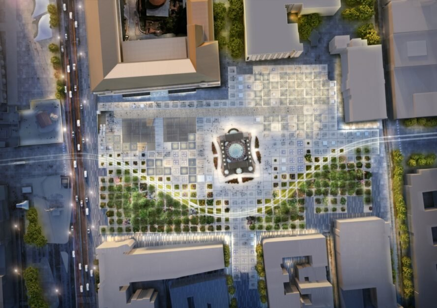 aerial rendering of city square covered in clear solar panels