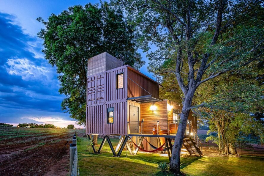 home made of stacked red shipping containers