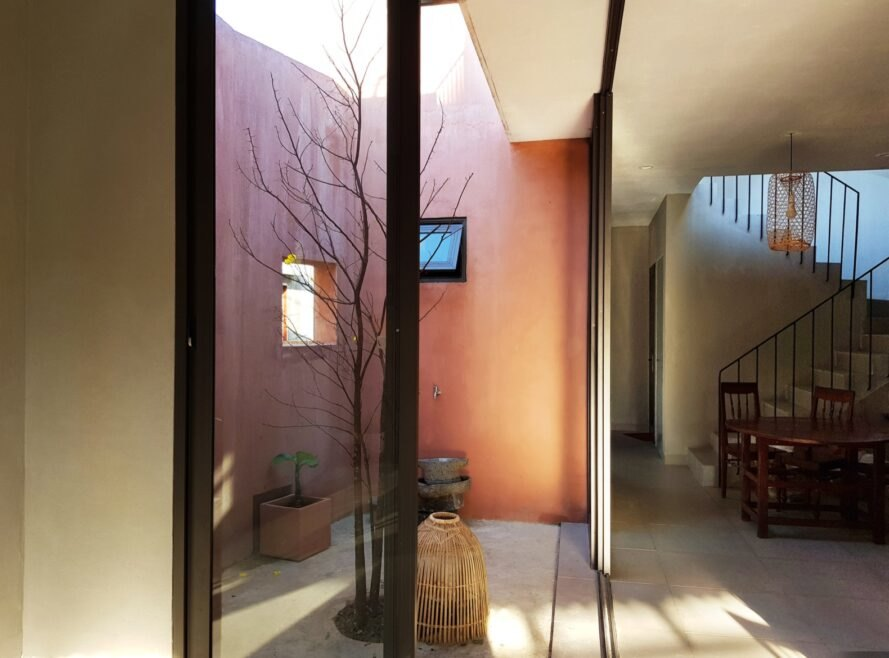 home attached to a small courtyard
