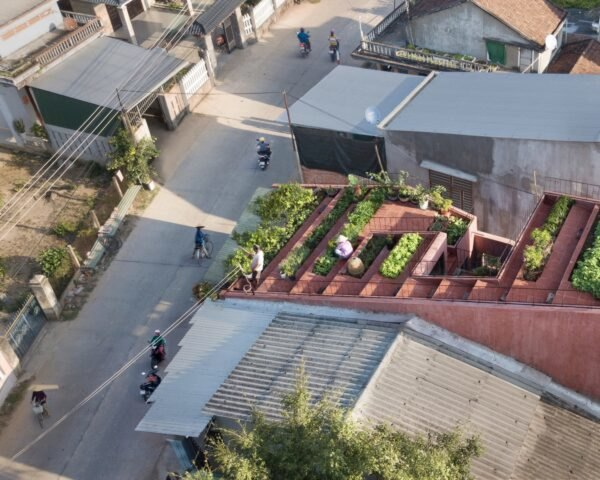 aerial view of stepped terraces on a red home
