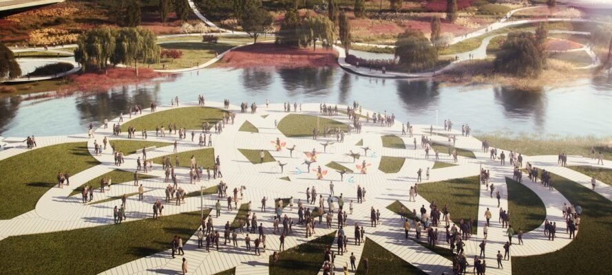 rendering of winding pathways and green space