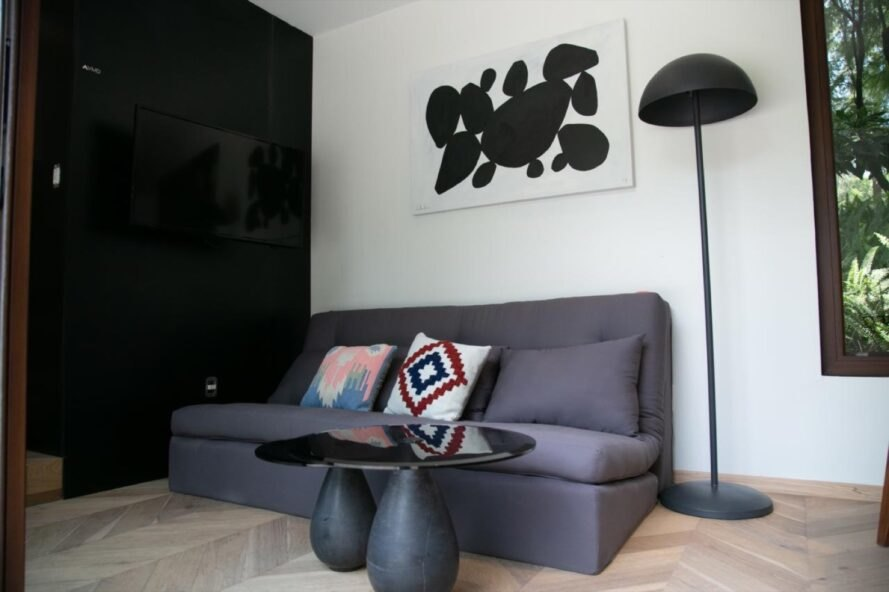 small gray sofa and round black coffee table
