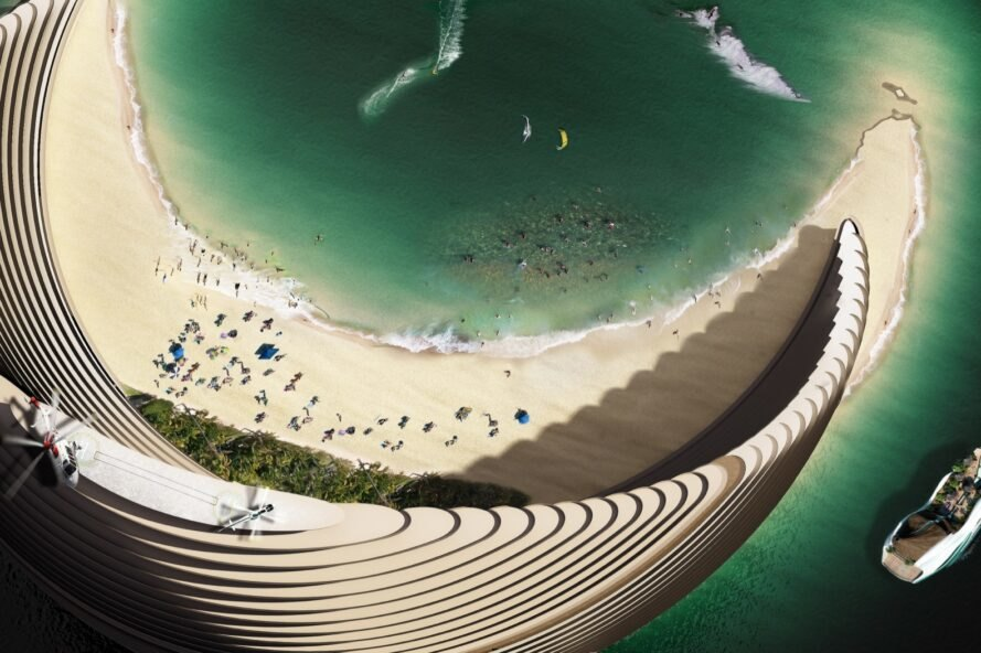 aerial rendering of skyscraper with a beach