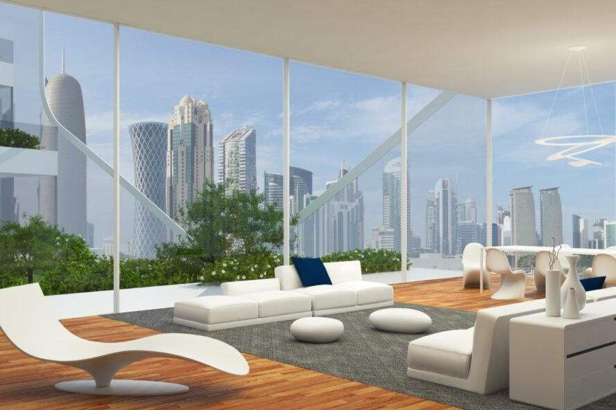 rendering of lounge area with city views