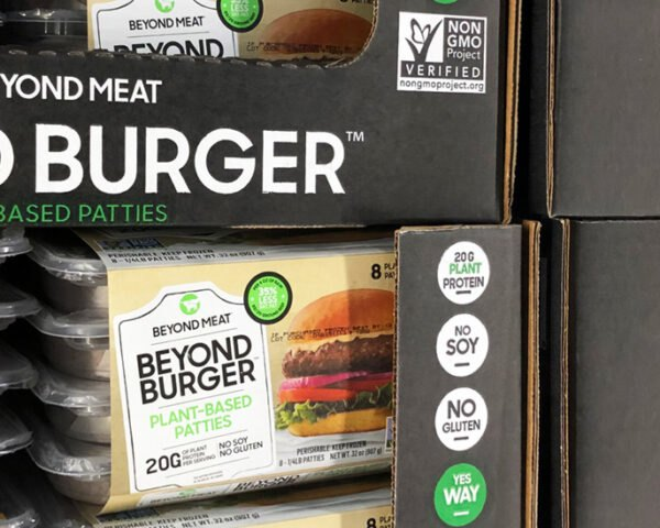stacks of bulk packages of Beyond Burgers at Costco