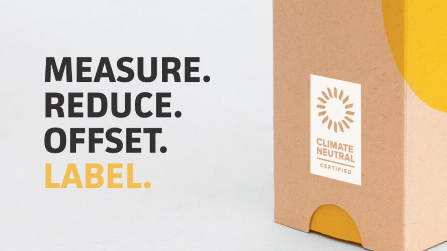 "Brown and yellow package with Climate Neutral Certification and text overlay that reads, ""Measure. Reduce. Offset. Label."""