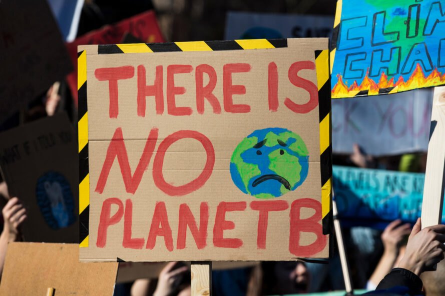 """climate protest sign that reads, """"There is no Planet B"""""""