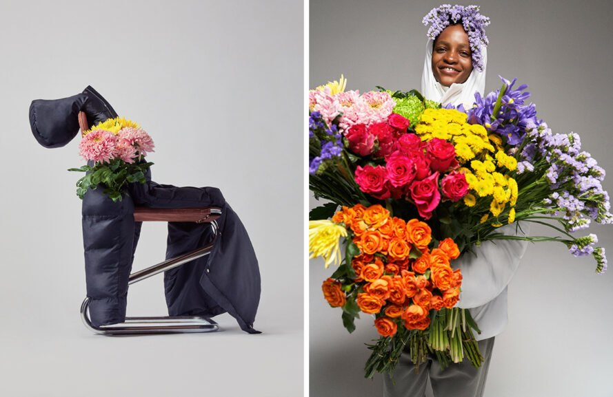 Puffer coat and flowers on a chair and person in puffer coat holding flowers