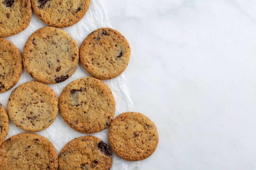 vegan chocolate chip cookies on a white background