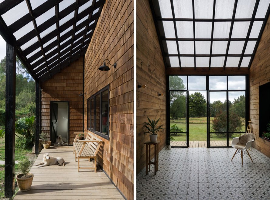 On the left, dog resting on wood porch. On the right, covered sunroom with glass window and skylights