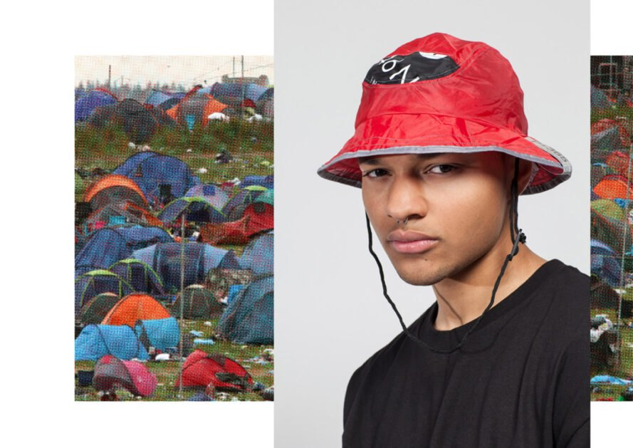 person wearing bucket hat